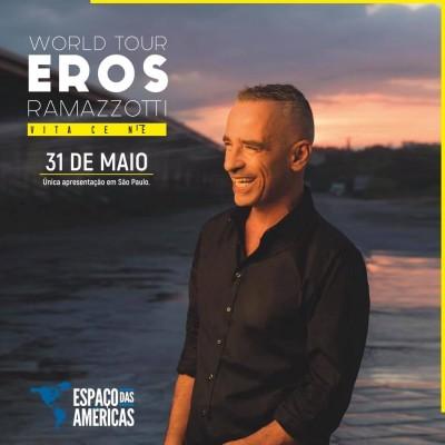 """Eros Ramazzotti chega ao Espaço das Américas com turnê """"Vita ce n'è world tour"""""""